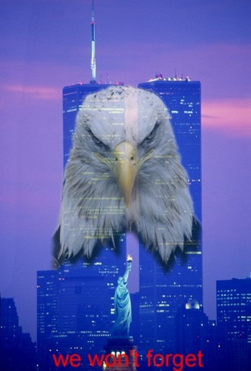 "Angry eagle superimposed on World Trade Center with caption ""We won't forget"""